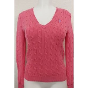 POLO RALPH LAUREN CABLE KNIT V-NECK SWEATER size M